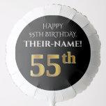 [ Thumbnail: Elegant, Black, Faux Gold Look 55th Birthday Balloon ]