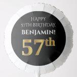 [ Thumbnail: Elegant, Black, Faux Gold Look 57th Birthday Balloon ]