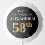 [ Thumbnail: Elegant, Black, Faux Gold Look 58th Birthday Balloon ]