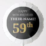 [ Thumbnail: Elegant, Black, Faux Gold Look 59th Birthday Balloon ]