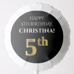 [ Thumbnail: Elegant, Black, Faux Gold Look 5th Birthday Balloon ]