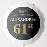 [ Thumbnail: Elegant, Black, Faux Gold Look 61st Birthday Balloon ]