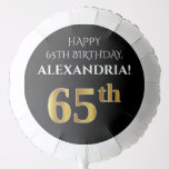 [ Thumbnail: Elegant, Black, Faux Gold Look 65th Birthday Balloon ]