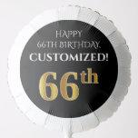 [ Thumbnail: Elegant, Black, Faux Gold Look 66th Birthday Balloon ]