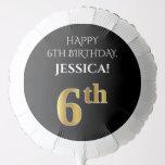 [ Thumbnail: Elegant, Black, Faux Gold Look 6th Birthday Balloon ]