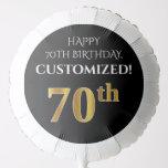 [ Thumbnail: Elegant, Black, Faux Gold Look 70th Birthday Balloon ]