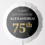 [ Thumbnail: Elegant, Black, Faux Gold Look 75th Birthday Balloon ]