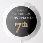 [ Thumbnail: Elegant, Black, Faux Gold Look 7th Birthday Balloon ]