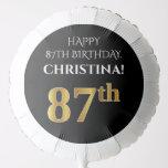 [ Thumbnail: Elegant, Black, Faux Gold Look 87th Birthday Balloon ]