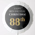 [ Thumbnail: Elegant, Black, Faux Gold Look 88th Birthday Balloon ]