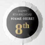 [ Thumbnail: Elegant, Black, Faux Gold Look 8th Birthday Balloon ]
