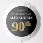 [ Thumbnail: Elegant, Black, Faux Gold Look 90th Birthday Balloon ]