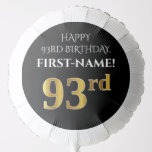 [ Thumbnail: Elegant, Black, Faux Gold Look 93rd Birthday Balloon ]