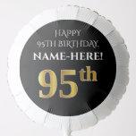 [ Thumbnail: Elegant, Black, Faux Gold Look 95th Birthday Balloon ]
