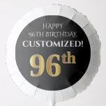 [ Thumbnail: Elegant, Black, Faux Gold Look 96th Birthday Balloon ]