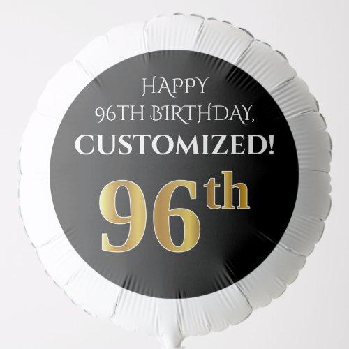 Elegant Black Faux Gold Look 96th Birthday Balloon