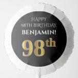 [ Thumbnail: Elegant, Black, Faux Gold Look 98th Birthday Balloon ]