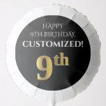[ Thumbnail: Elegant, Black, Faux Gold Look 9th Birthday Balloon ]