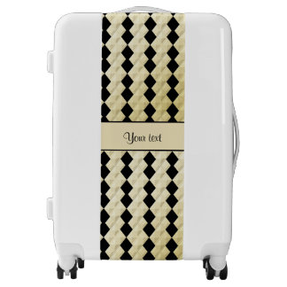 Elegant  Black & Faux Gold Symmetrical Diamonds Luggage