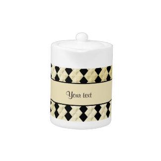 Elegant  Black & Faux Gold Symmetrical Diamonds Teapot