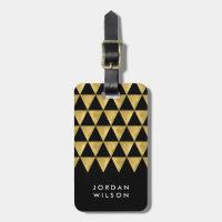 Elegant Black Faux Gold Triangle Luggage Tag