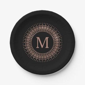 Elegant Black & Faux Rose Gold Initial Monogram Paper Plate