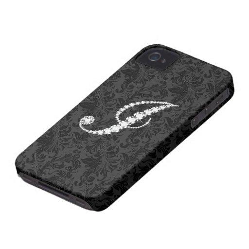 Elegant Black  Floral Damas Diamonds Initial J iPhone 4 Cover
