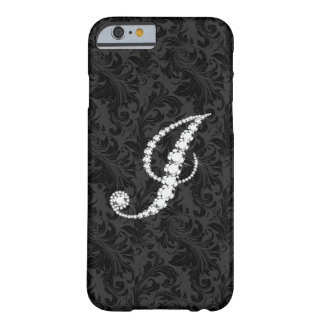 Elegant Black  Floral Damas Diamonds Initial J Barely There iPhone 6 Case
