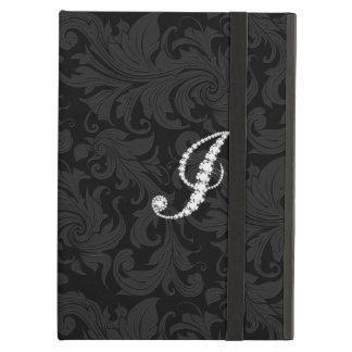 Elegant Black  Floral Damas Diamonds Initial J iPad Air Covers
