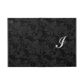 Elegant Black  Floral Damas Diamonds Initial J iPad Mini Cases