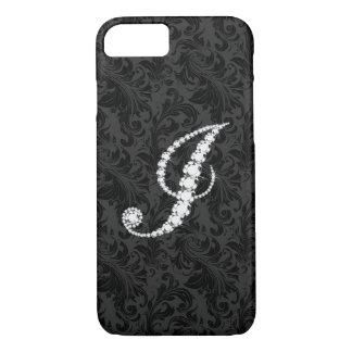 Elegant Black  Floral Damas Diamonds Initial J iPhone 7 Case