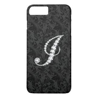 Elegant Black  Floral Damas Diamonds Initial J iPhone 7 Plus Case