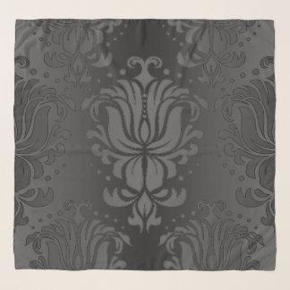 Elegant Black Floral Damask Chiffon Scarf