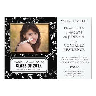 Elegant Black Floral Damask Graduation Party 5x7 Paper Invitation Card