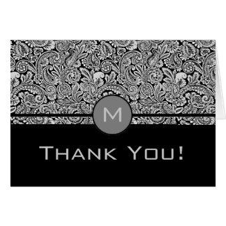 Elegant Black Floral Damask With Monogram Card