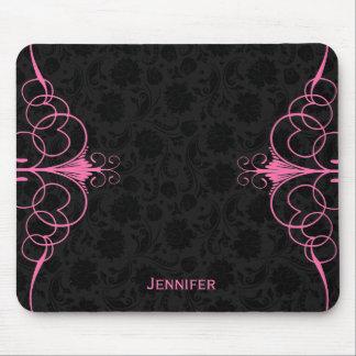 Elegant Black Floral Damasks & Pink Frame Mouse Pad
