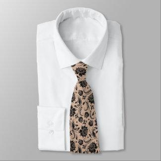 Elegant Black Floral Damasks Tan Background Tie
