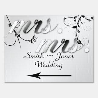 Elegant Black Floral Gay Wedding Direction Sign