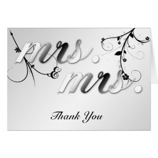 Elegant Black Floral Gay Wedding Thank You Card