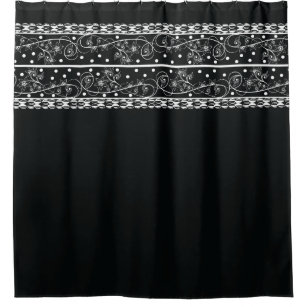 Elegant Black Floral Lace Shower Curtain