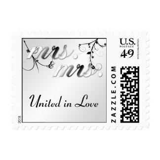 Elegant Black Floral Mrs. and Mrs. Wedding Stamp