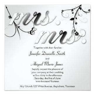 Elegant Black Floral Mrs. & Mrs Wedding Invitation