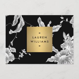 Elegant Black Floral Pattern 3 Flat Notecard