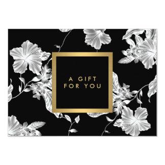 Elegant Black Floral Pattern 3 Gift Certificate Card