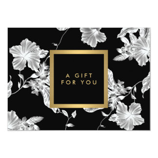 Elegant Black Floral Pattern 3 Gift Certificate 4.5x6.25 Paper Invitation Card