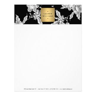 Elegant Black Floral Pattern 3 Letterhead