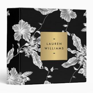 Elegant Black Floral Pattern 3 Personalized Binder
