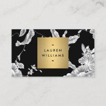 Elegant Black Floral Pattern 3 with Gold Name Logo Business Card