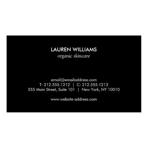 Elegant Black Floral Pattern 3 with Gold Name Logo Business Card Templates (back side)