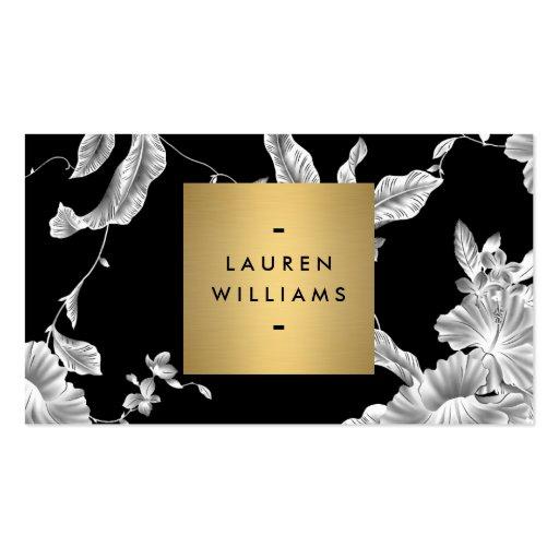 Elegant Black Floral Pattern 3 with Gold Name Logo Business Card Templates (front side)